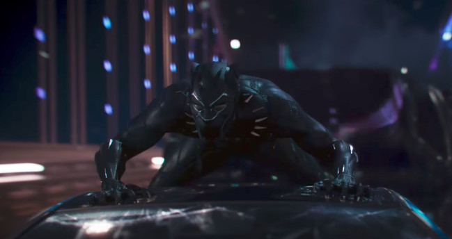 Black Panther on top of a car