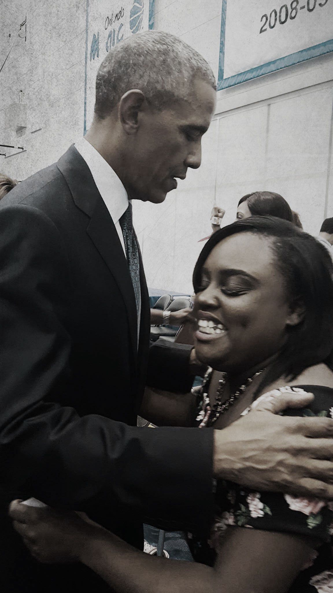 Patience and Tiara at Florida Hospital Orlando in June 2016 before they meet President Obama (Red Huber/Orlando Sentinel/TNS via Getty Images); Tiara and President Obama (Courtesy AlexMurray)