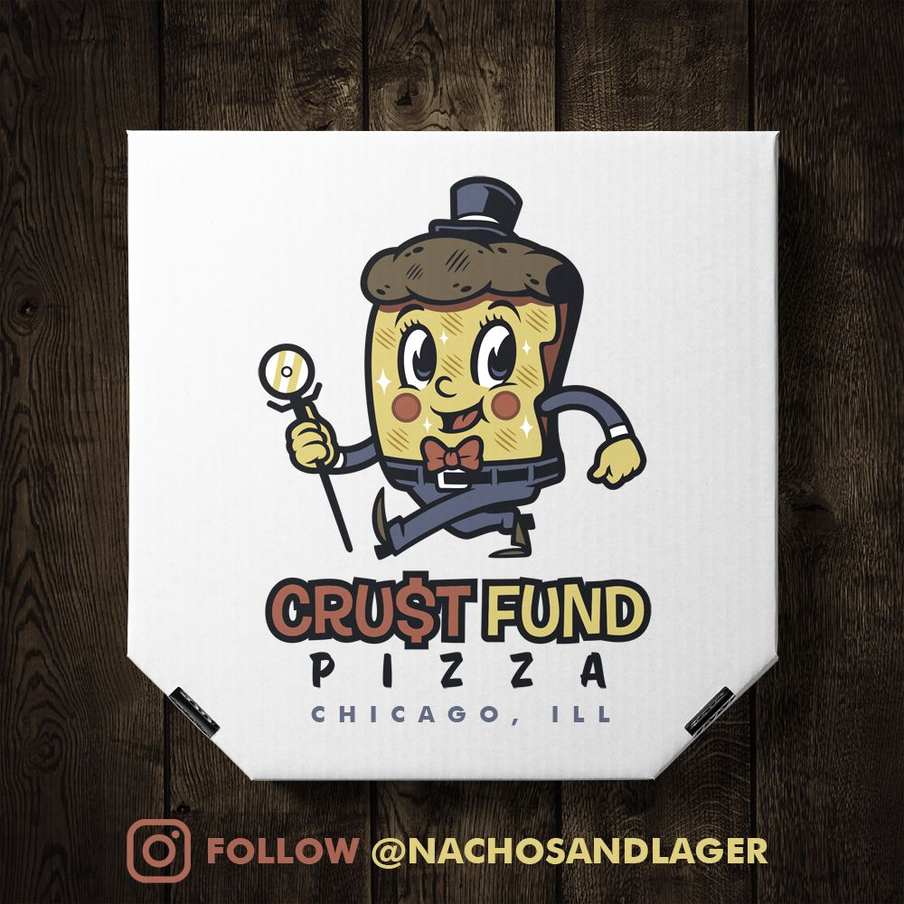 A cartoon pizza mascot on a box.