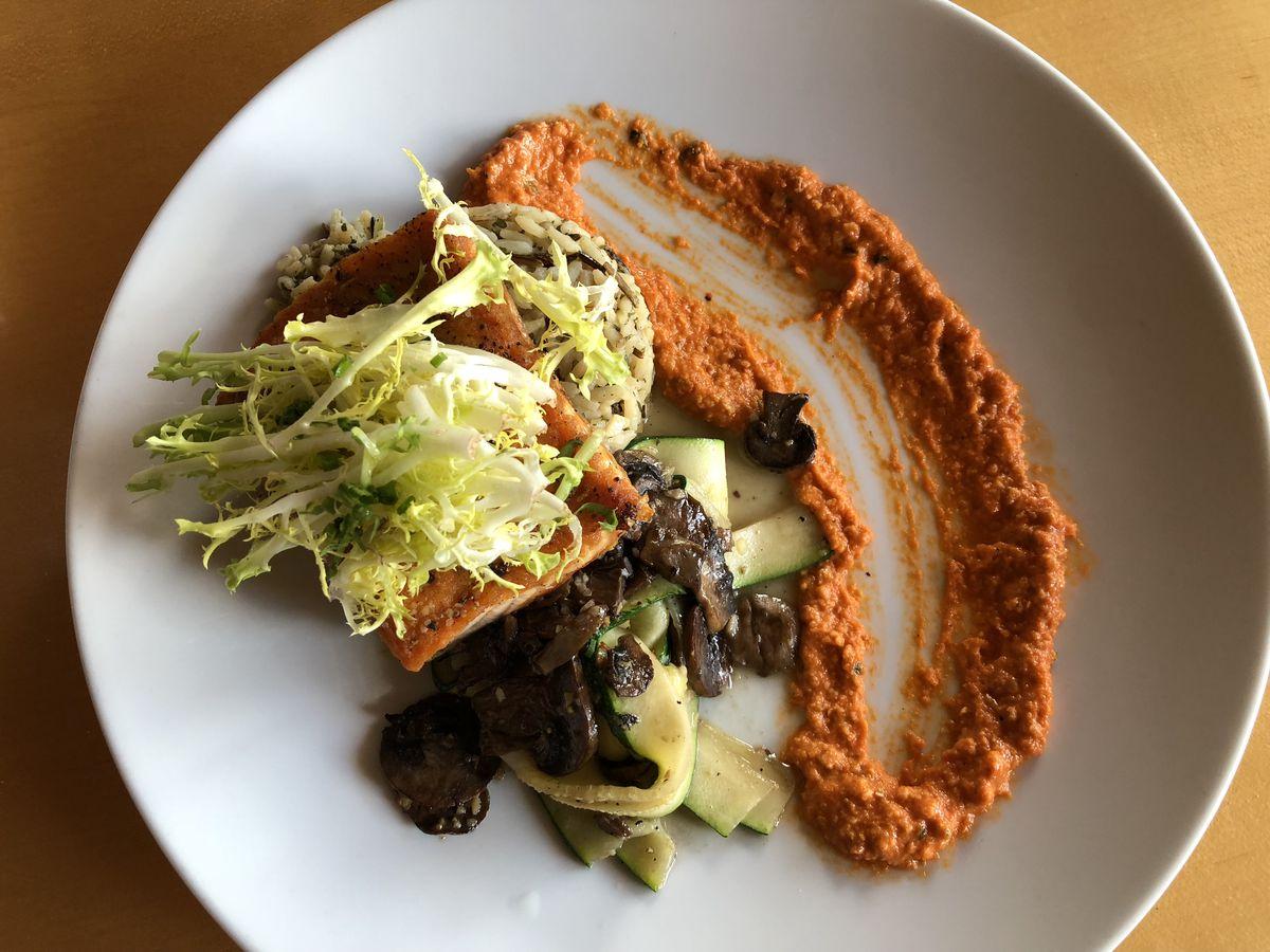 Seared salmon at Mythos Restaurant