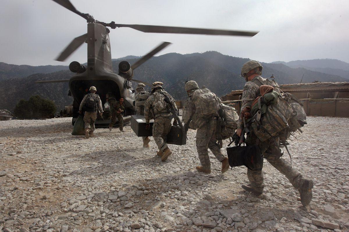 US troops in the Korengal Valley in Afghanistan.
