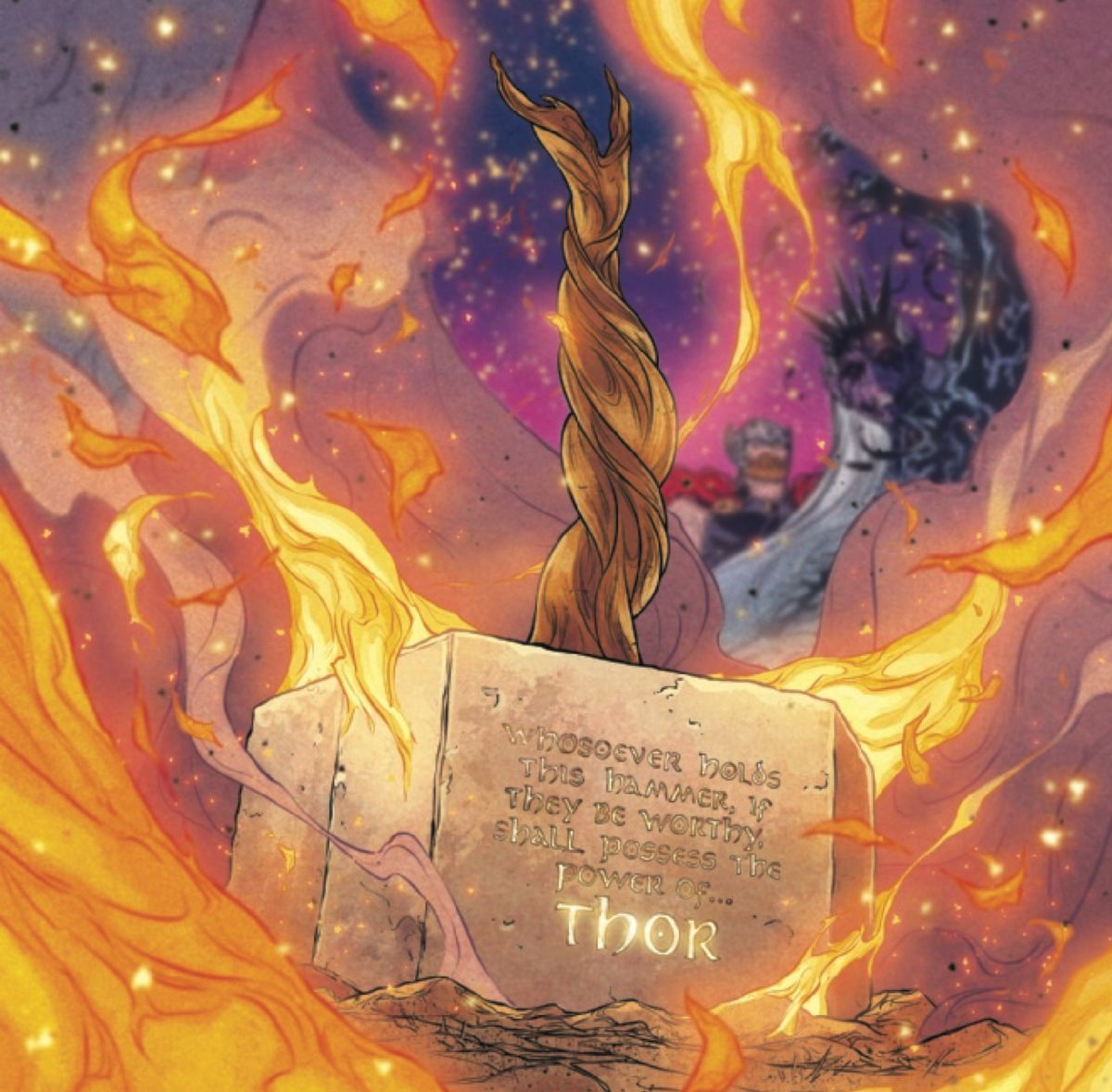 Mjolnir reforged in The War of the Realms #6, Marvel Comics (2019).