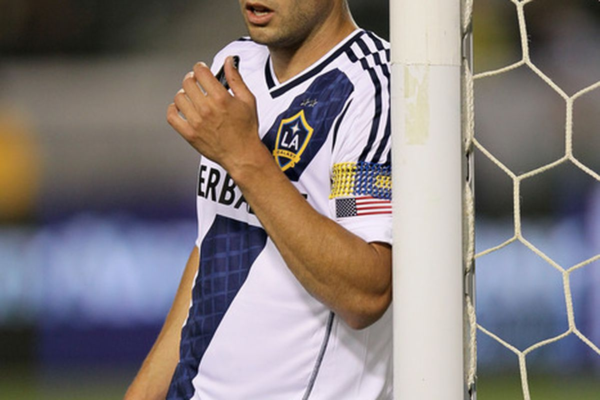 CARSON, CA - APRIL 28:  Landon Donovan #10 of the Los Angeles Galaxy leans on the goal as he waits to defend an FC Dallas corner kick at The Home Depot Center on April 28, 2012 in Carson, California.  (Photo by Stephen Dunn/Getty Images)