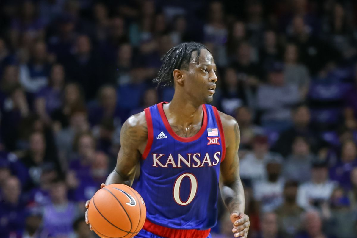 Kansas Jayhawks guard Marcus Garrett brings the ball up court in the second half of a Big 12 basketball game between the Kansas Jayhawks and Kansas State Wildcats on February 29, 2020 at Bramlage Coliseum in Manhattan, KS.