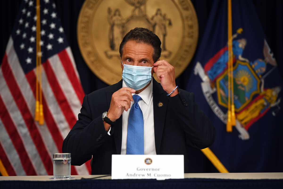 Gov. Andrew Cuomo holds a coronavirus briefing in New York City in August.