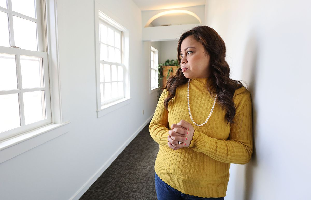 Vicky Chavez, who for three years has sought sanctuary with her young daughters at the First Unitarian Church of Salt Lake City, is pictured at the church on Wednesday, March 24, 2021. Chavez and three other women in similar situations in other states are suing U.S. immigration officials, alleging they are facing steep fines because they spoke out about their cases.