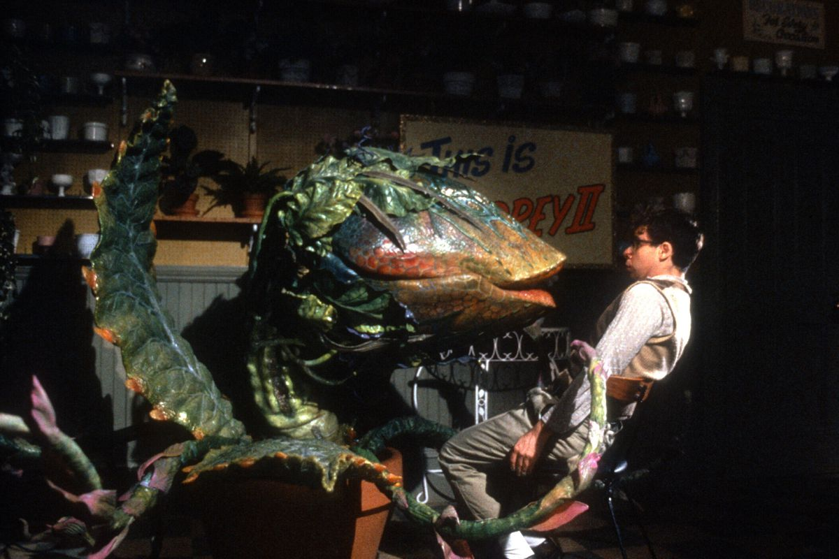 The giant alien plant Audrey II confronts Rick Moranis as Seymour in the Little Shop of Horrors movie