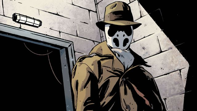 Rorschach stands with a smoking in a doorway in the new Rorschach comic