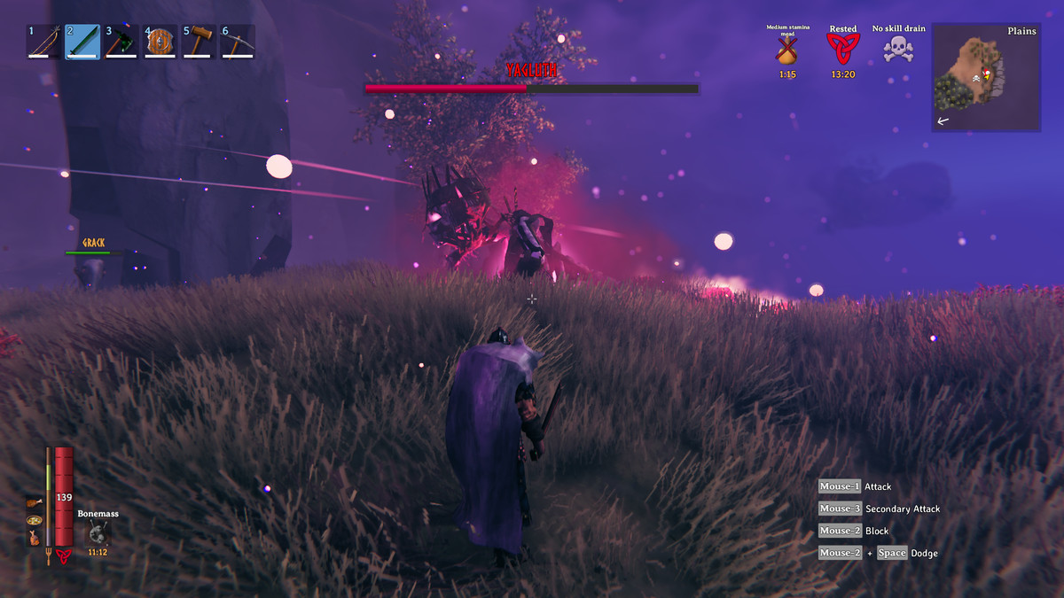 A Valheim player faces off against Yagluth, the game's final boss