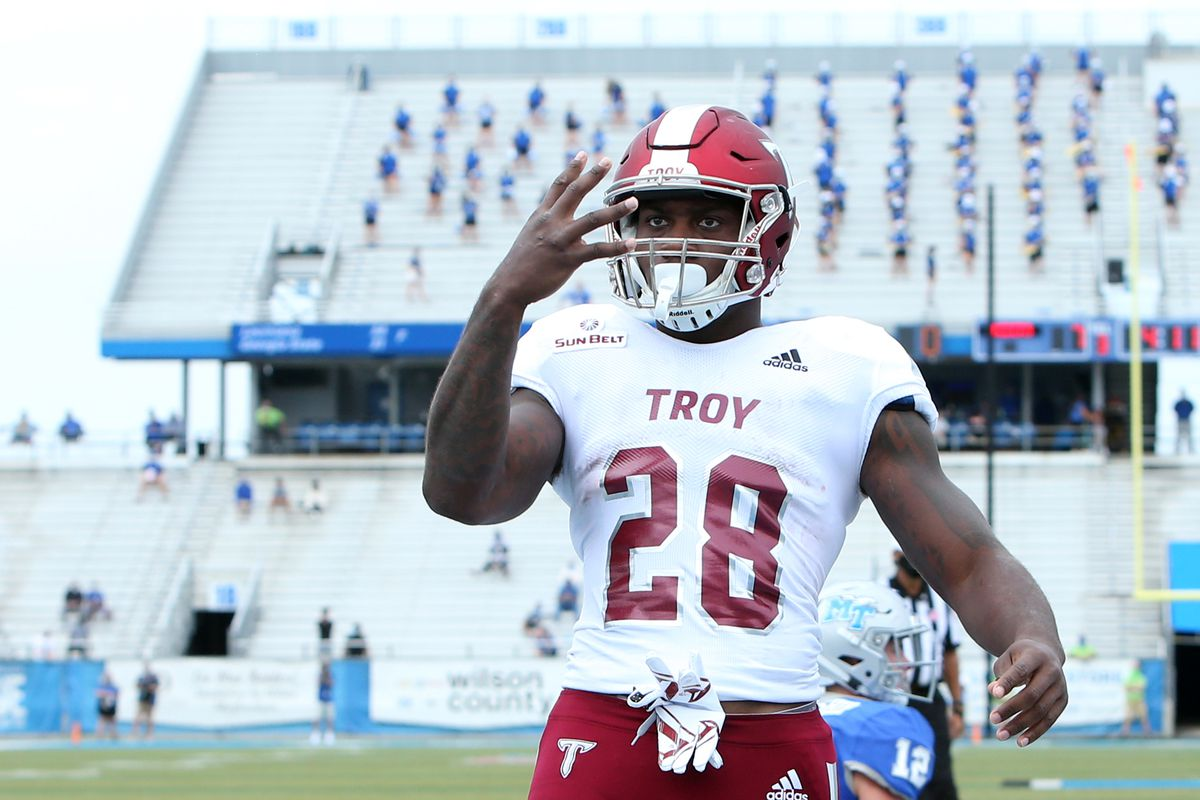 Troy Trojans running back Charles Strong celebrates after scoring a touchdown in a game between the Middle Tennessee Blue Raiders and the Troy Trojans on September 19, 2020, at Floyd Stadium in Murfreesboro, Tennessee.