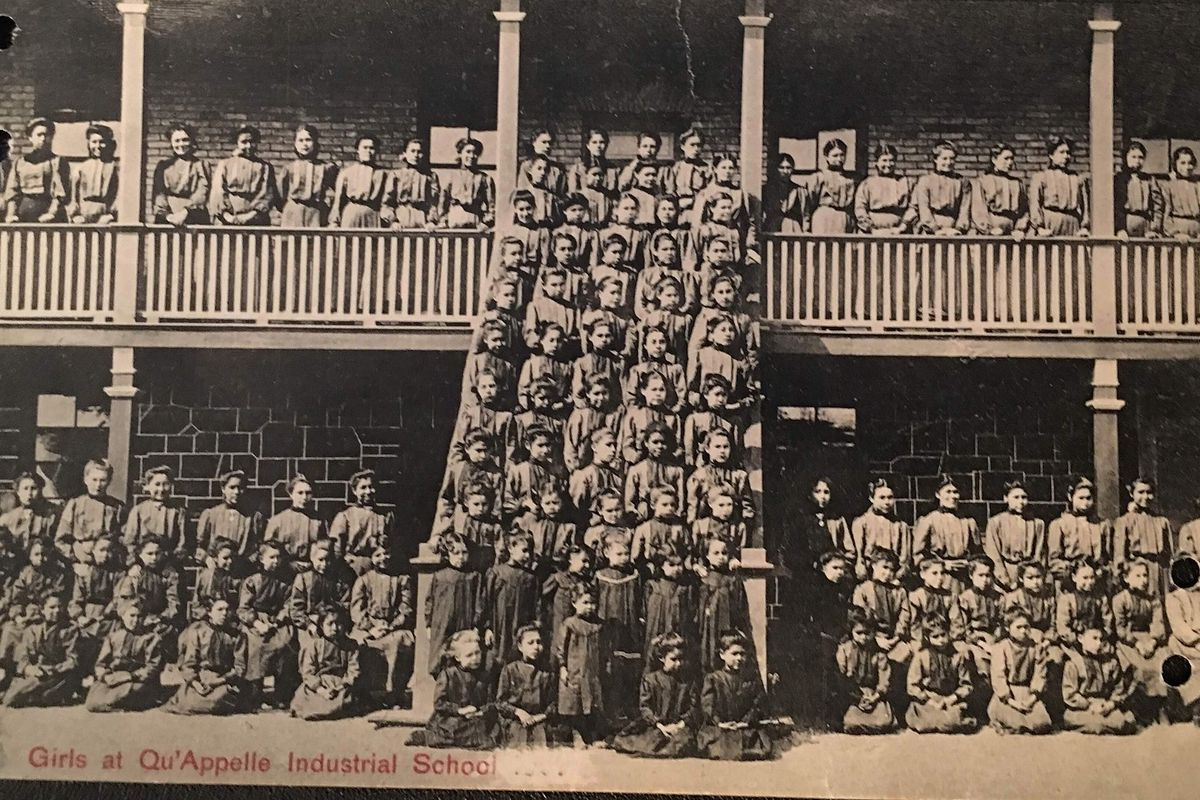 A photo of the children at the Qu'Appelle Indian Residential School.