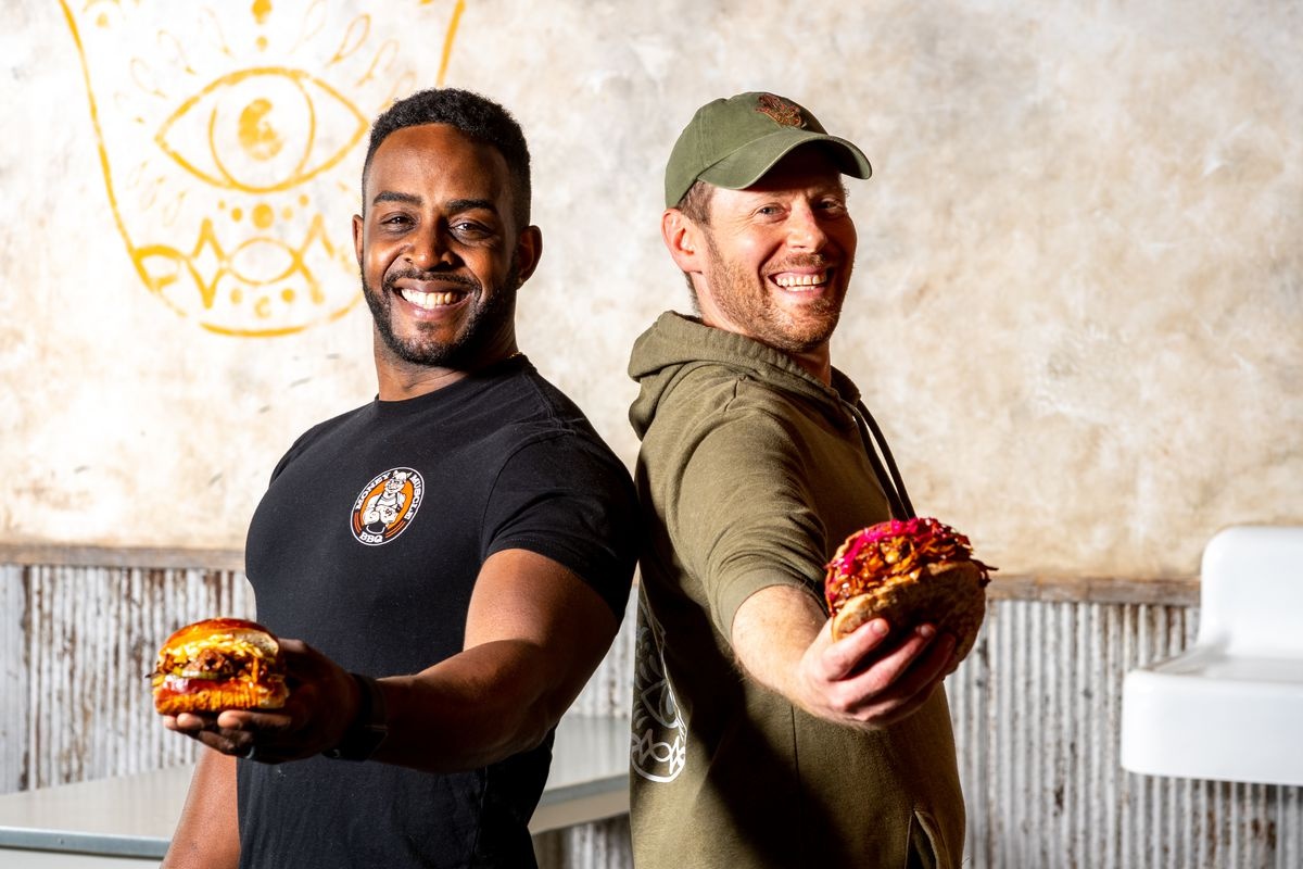 Shouk chef Dennis Friedman, right, partnered with Money Muscle pitmaster Ed Reavis for help developing his BBQ Jack recipe.