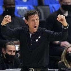 Utah Jazz head coach Quin Snyder gestures to his team during the second half in Game 6 of a second-round NBA basketball playoff series against the Los Angeles Clippers Friday, June 18, 2021, in Los Angeles.