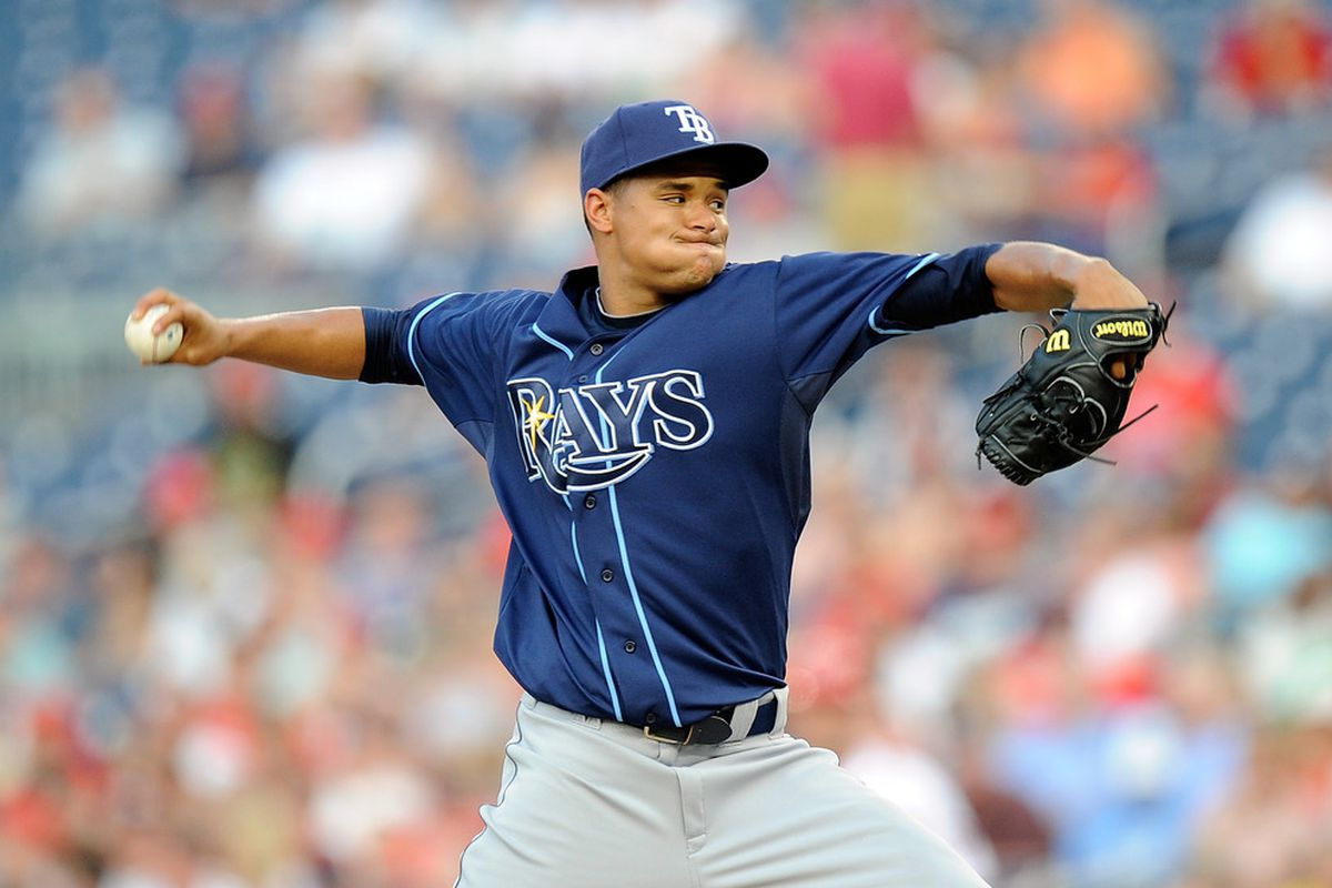 WASHINGTON, DC - JUNE 20:  Chris Archer #22 of the Tampa Bay Rays pitches in his major league debut against the Washington Nationals in interleague play at Nationals Park on June 20, 2012 in Washington, DC.  (Photo by Greg Fiume/Getty Images)