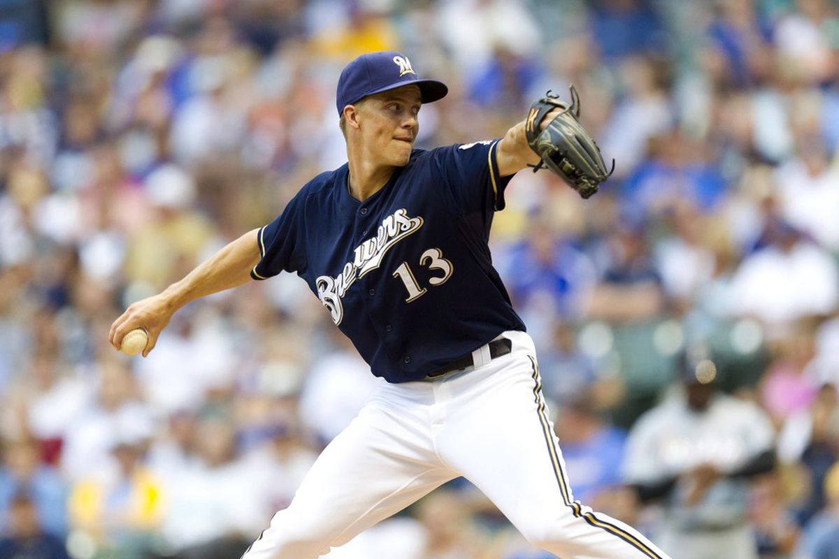 July 2, 2012: Milwaukee, WI, USA;  Milwaukee Brewers pitcher Zack Greinke (13) throws a pitch during the first inning against the Miami Marlins at Miller Park.  Mandatory Credit: Jeff Hanisch-US PRESSWIRE