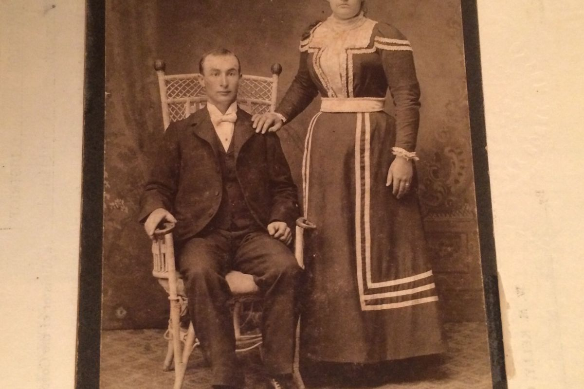 Arizona Moritzky stands with her husband in the early 1900s.