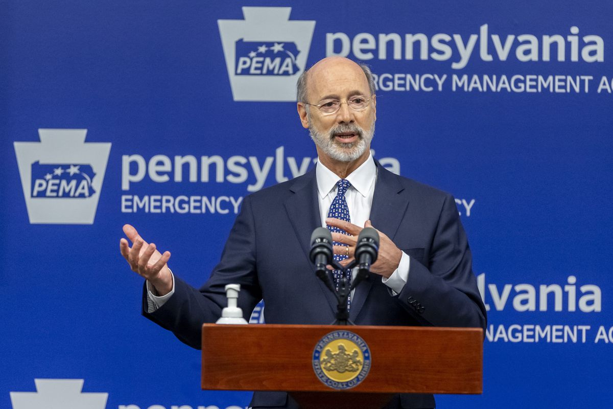 In this May 29, 2020, file photo, Pennsylvania Gov. Tom Wolf meets with the media at The Pennsylvania Emergency Management Agency (PEMA) headquarters in Harrisburg, Pa.