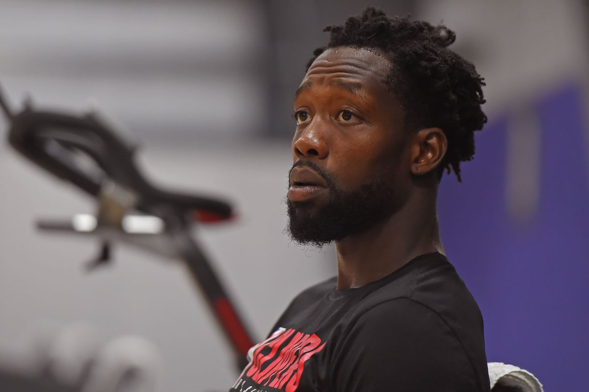 Patrick Beverley of the LA Clippers looks on during practice as part of the NBA Restart 2020 on July 13, 2020 in Orlando, Florida.
