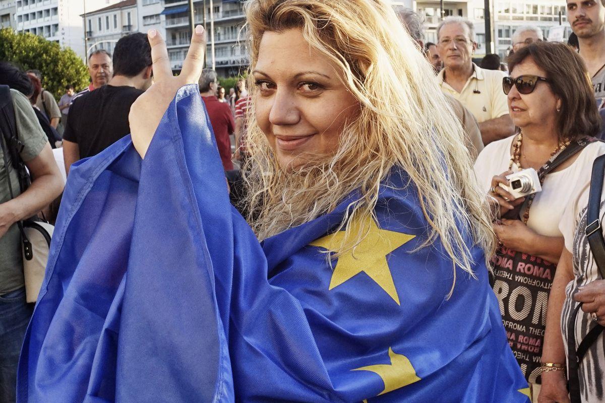 Pro-EU demonstrators in Greece.