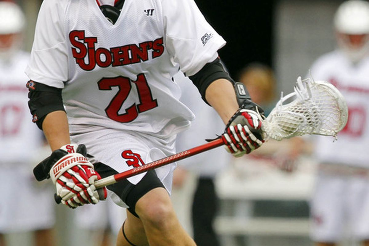 Apr 1, 2012; East Rutherford, NJ, USA;  St. Johns Red Storm midfield Connor Mullen (21) during the first quarter against the Notre Dame Fighting Irish at the Big City Classic at MetLife Stadium. Mandatory Credit: Jim O'Connor-US PRESSWIRE