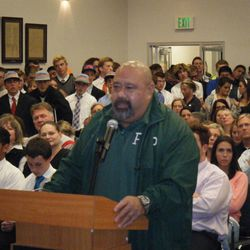 Provo High head football coach Saia Pope speaks at the Provo School Board's meeting Tuesday.