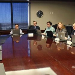 Rep. Jason Chaffetz, R-Utah, left, meets with the Deseret News and KSL editorial boards in Salt Lake City on Tuesday, Feb. 21, 2017.