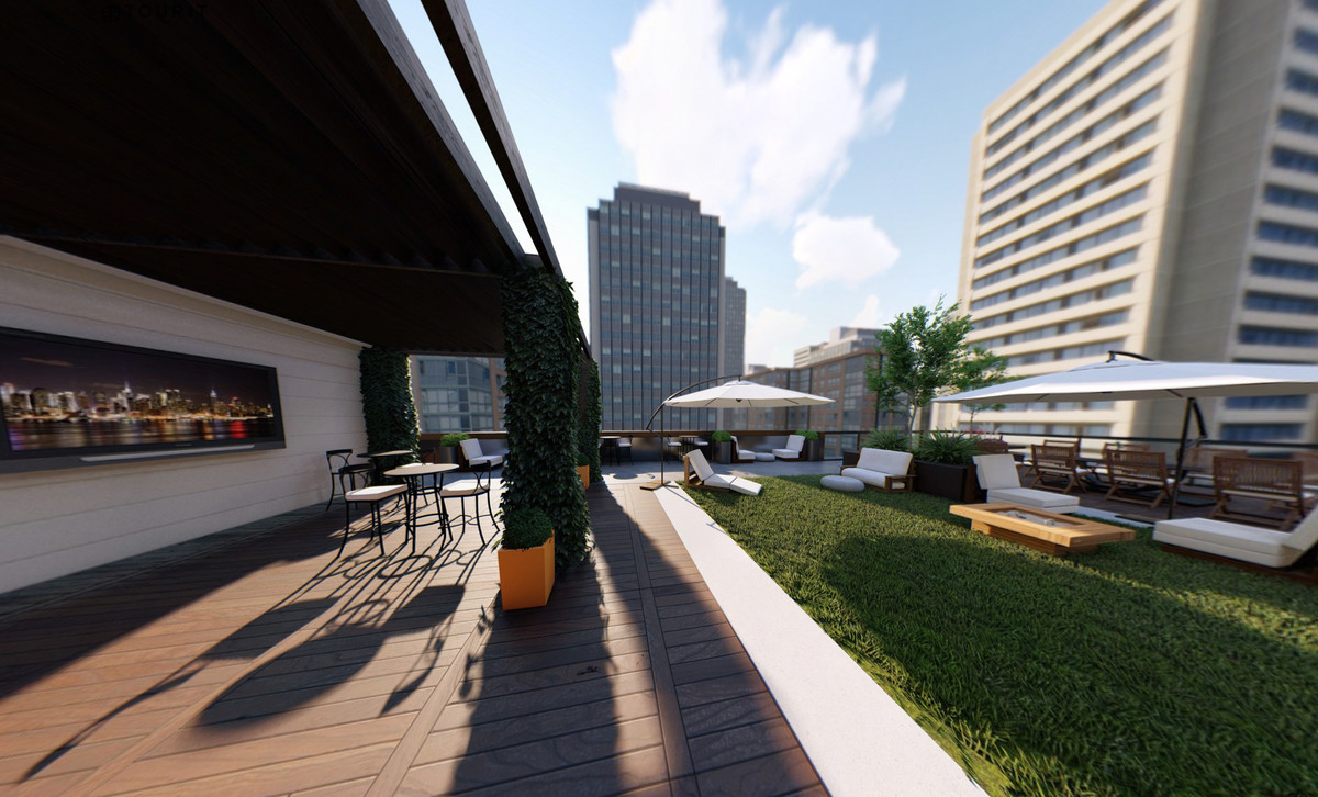 A rendering of the rooftop patio
