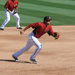 Martin Prado heads for the ball