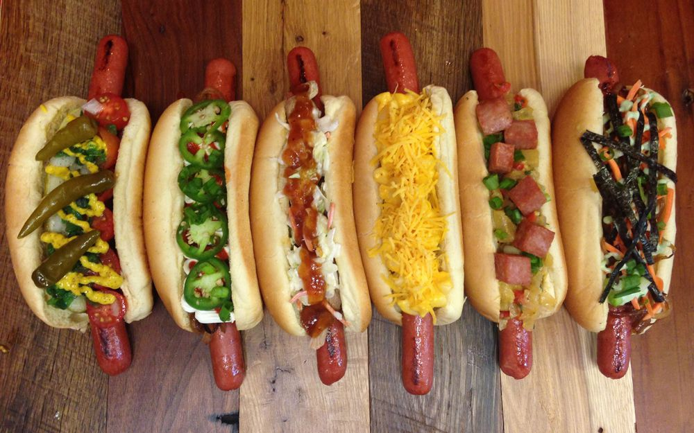 Six diverse hot dogs on the takeout and delivery menu at The Steamie Weenie.