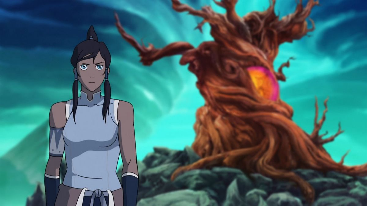 Korra stands in front of a glowing, twisted tree in The Legend of Korra