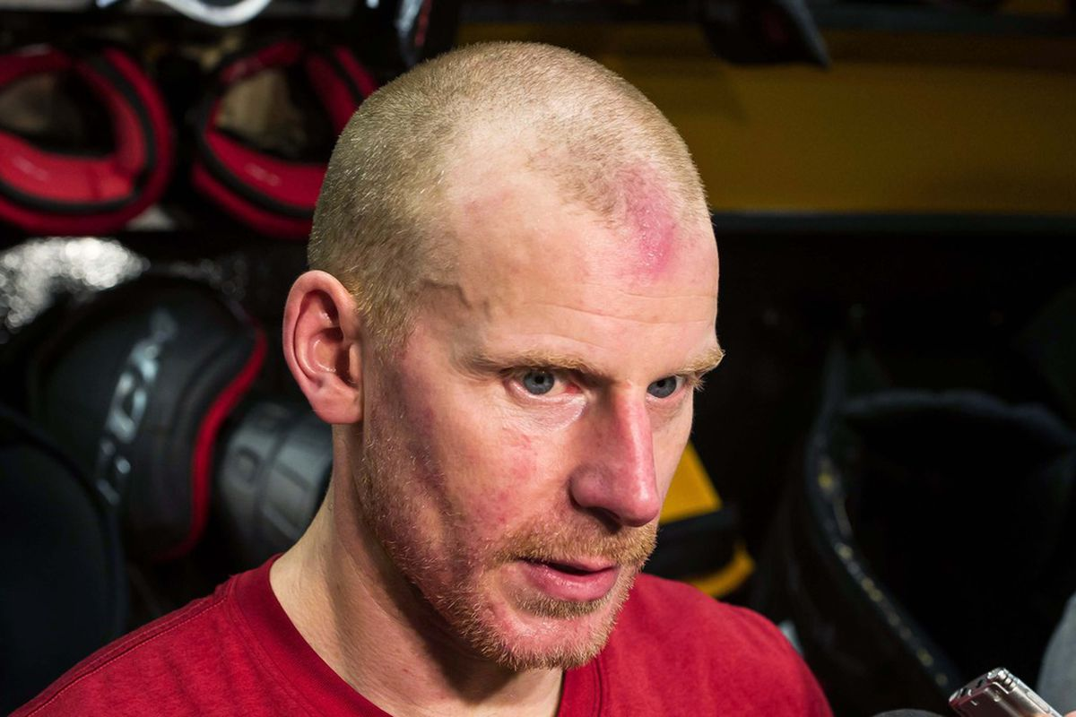 Alfie answers questions post-game on why he was the best captain on the ice. Credit: Marc DesRosiers-US PRESSWIRE