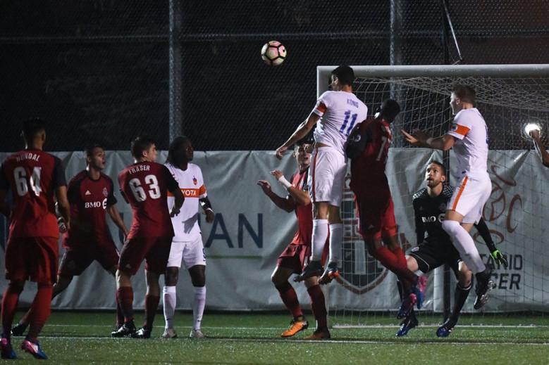 USL Photo - FC Cincinnati's Danni Konig rises highest to a corner kick to pull one back in Toronto