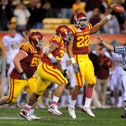 Iowa State Cyclones defensive back (22) Ter'ran Benton celebrates a fumble recovery against the Minnesota Golden Gophers in the 2009 Insight Bowl at Sun Devil Stadium. Iowa State defeated Minnesota 14-13.