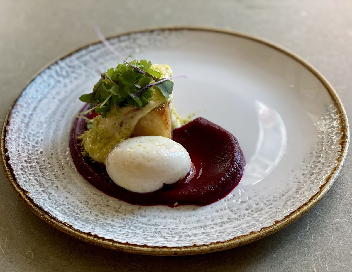 A Russian-inspired potato and beet dish at Immigrant Food +