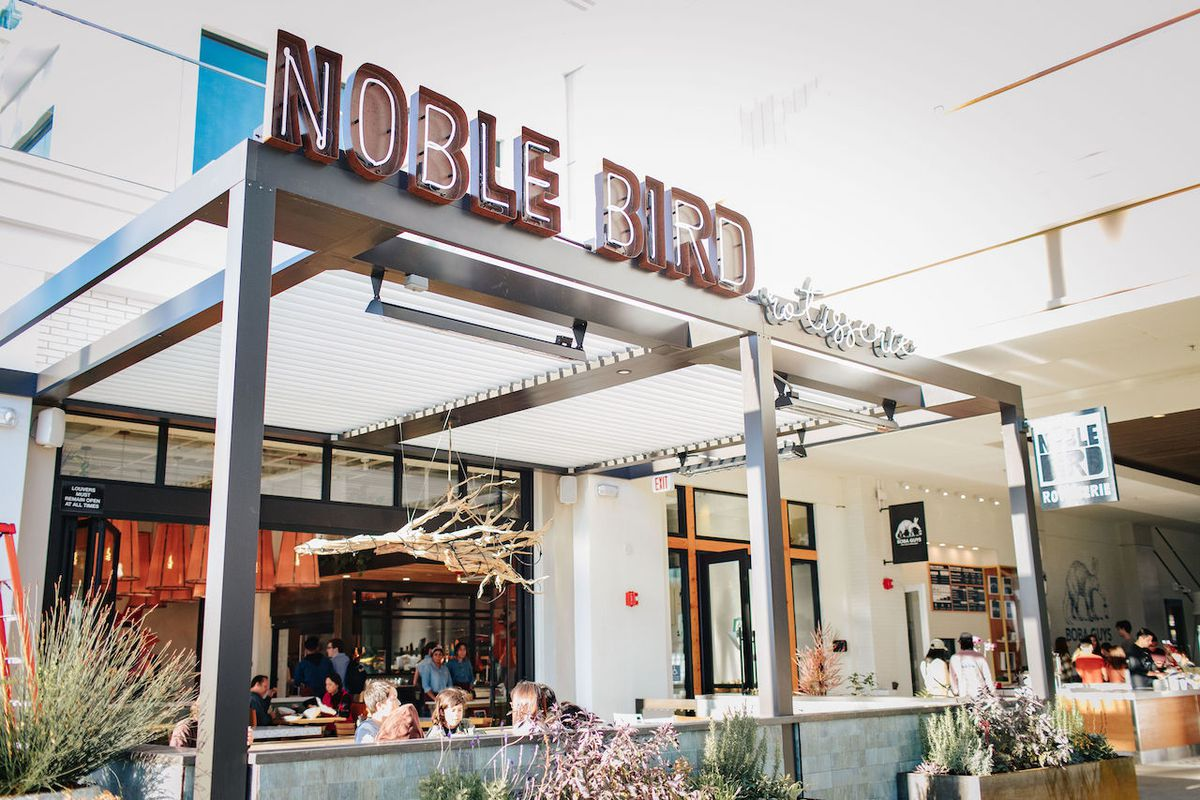 The front entrance of Noble Bird Rotisserie in Long Beach, California