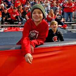 A young Badgers fan at the game in Champaign-Urbana.