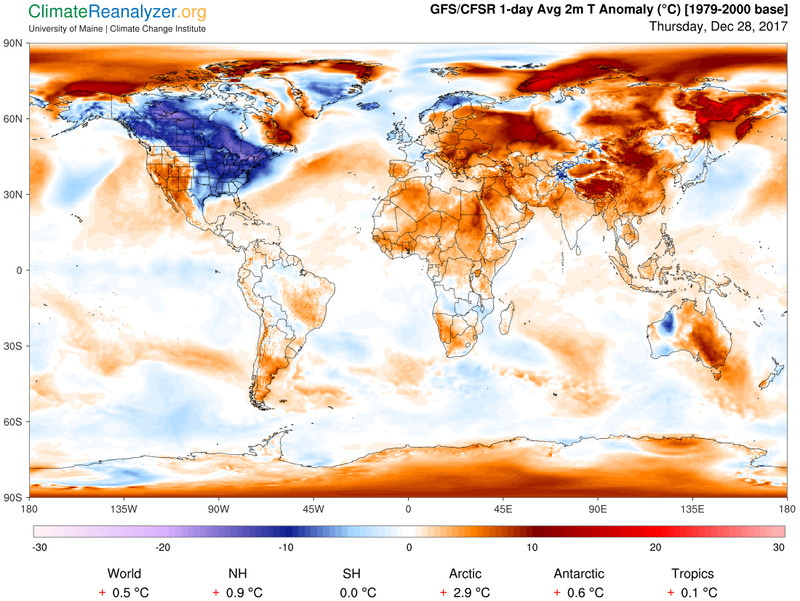 Global average deviation from normal December 28 temperatures