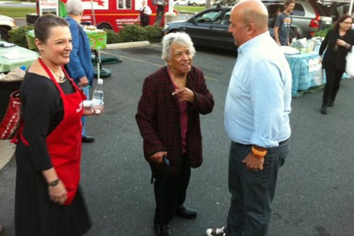 Poppy Tooker, Leah Chase and Andrew Zimmern at last Thursday's Crescent City Farmers Market.
