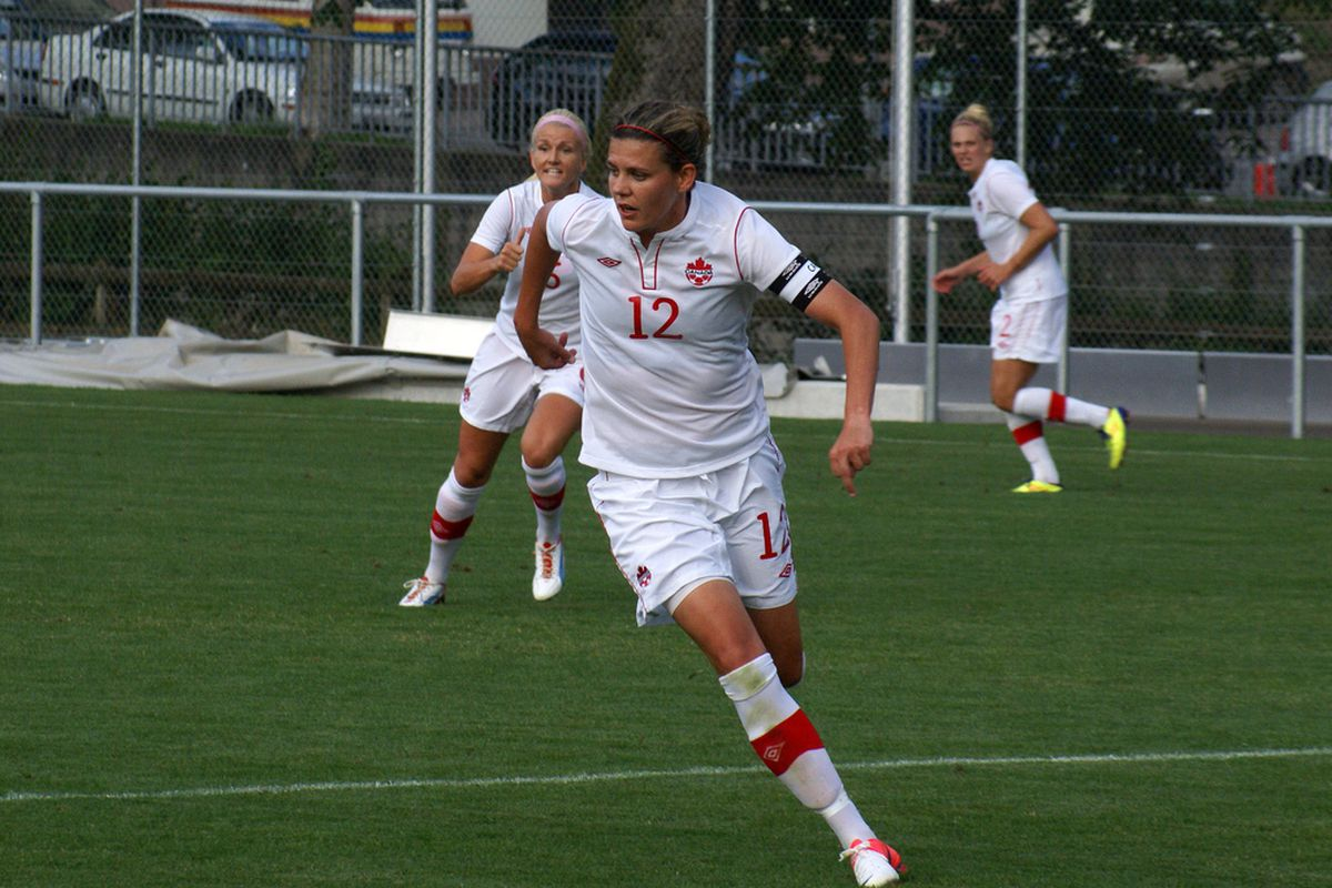 I'm going to go out on a limb and say that Christine Sinclair will be important if Canada is going to win a medal in London. (Canadian Soccer Association)