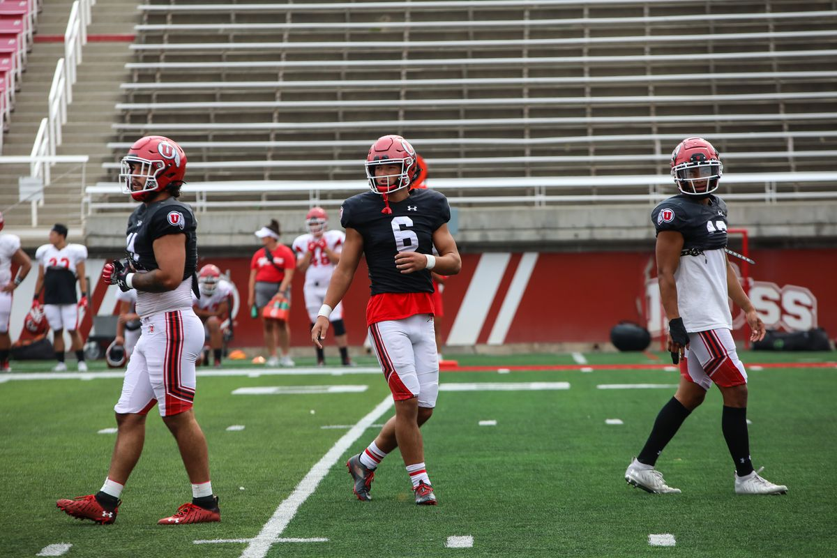 Cole Bishop, center, has made an early impact for the Utah Utes as a freshman.
