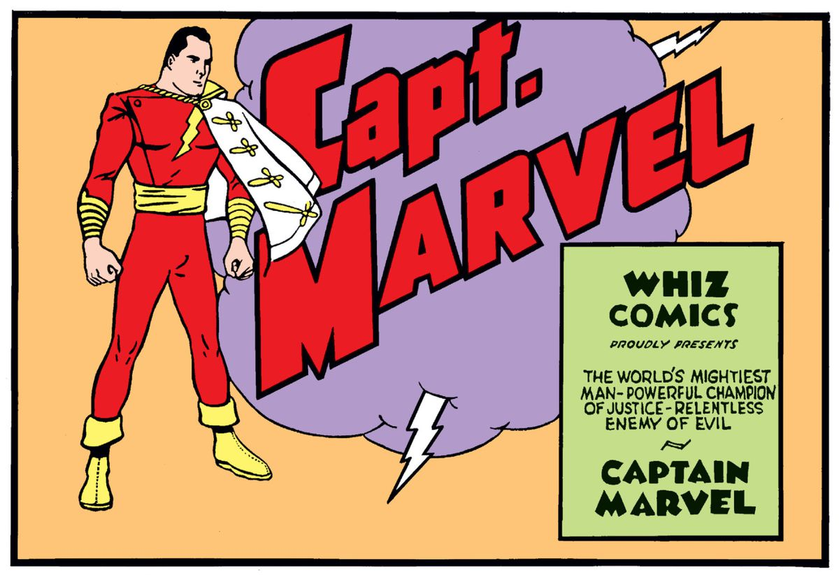 From the debut of Captain Marvel in Whiz Comics #2, Fawcett Comics (1938).