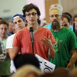 Soon to be UCLA student Jonathan Balk asks a question to Libertarian presidential candidate Gov. Gary Johnson and running mate Gov. Bill Weld in Salt Lake City at the University of Utah on Saturday, Aug. 6, 2016.