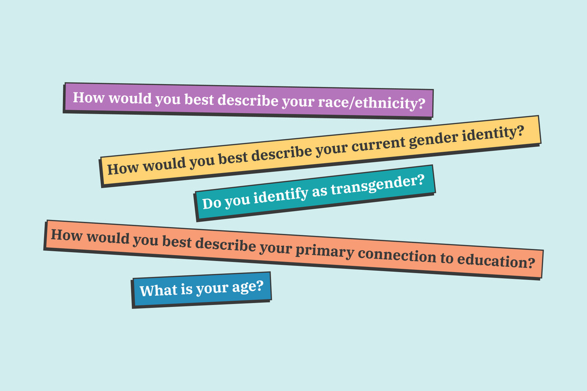 """Questions listed in colorful boxes are displayed against a light blue background. Questions include, """"What is your age?"""" and """"How would you best describe your current gender identity?"""""""