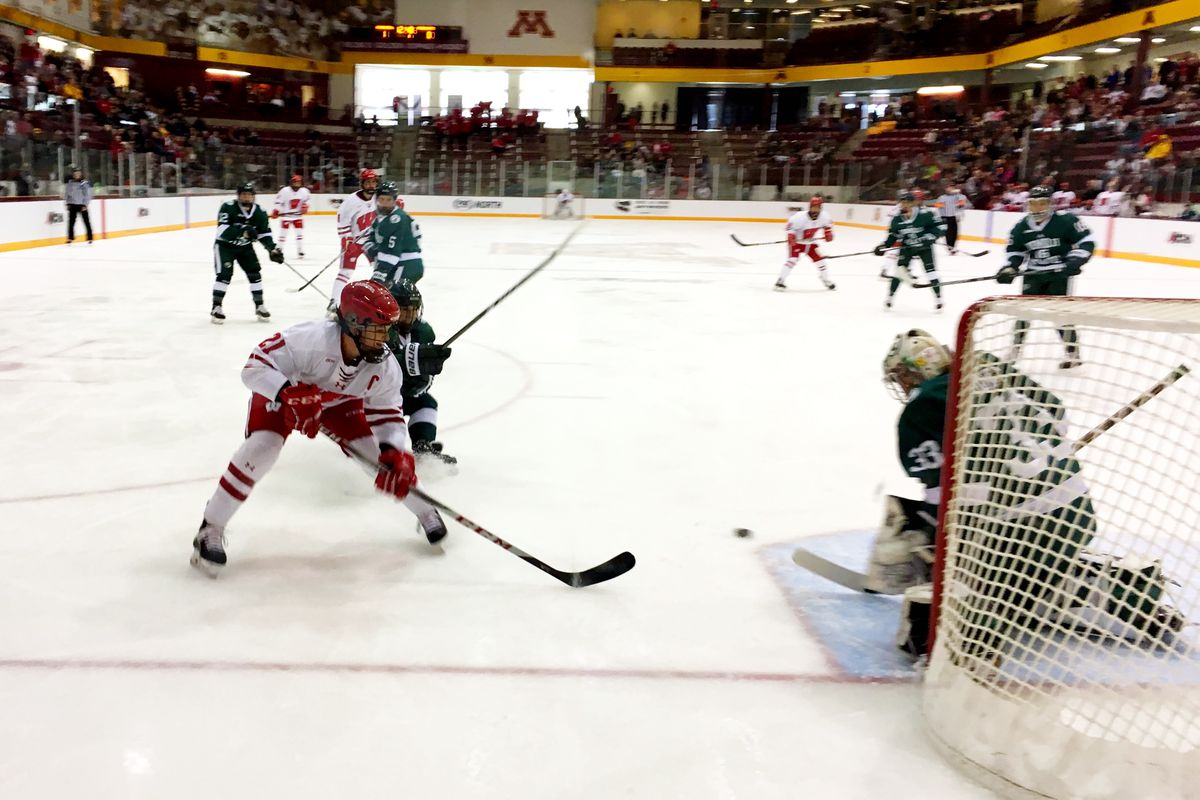 Baylee Wellhausen was in many ways the focus of the game, as she earned a hat trick to push Wisconsin 4-1 over Bemidji.
