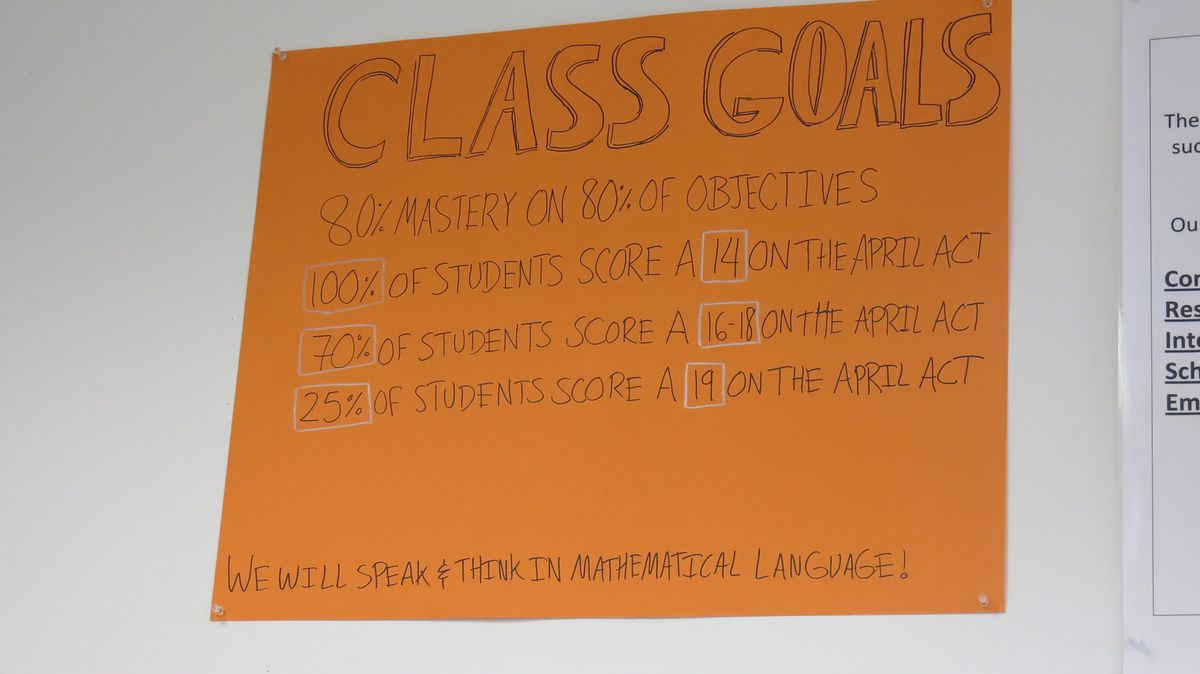A set of class goals in a math classroom at Soulsville charter school.
