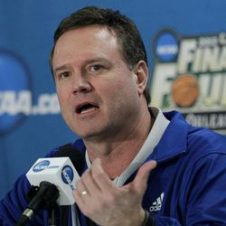 Kansas head coach Bill Self speaks during a news conference for the NCAA Final Four tournament college basketball game Sunday, April 1, 2012, in New Orleans. Kansas plays Kentucky in the championship game Monday night.