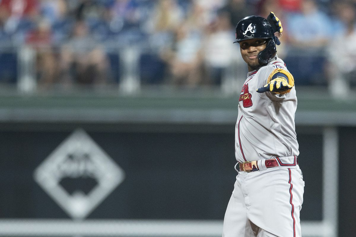Ronald Acuna Jr. #13 of the Atlanta Braves reacts against the Philadelphia Phillies at Citizens Bank Park on June 8, 2021 in Philadelphia, Pennsylvania. The Braves defeated the Phillies 9-5.