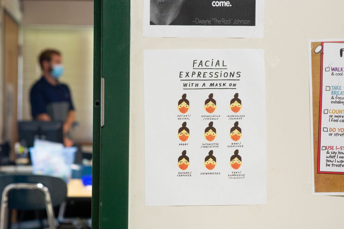 A sign that reads: Facial expressions with a mask on.