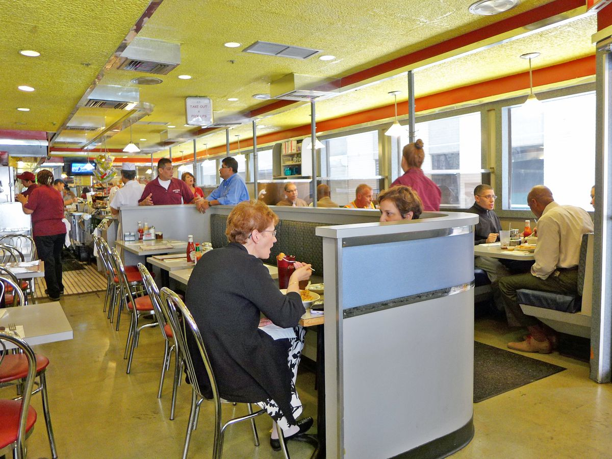 Diners eating in a diner