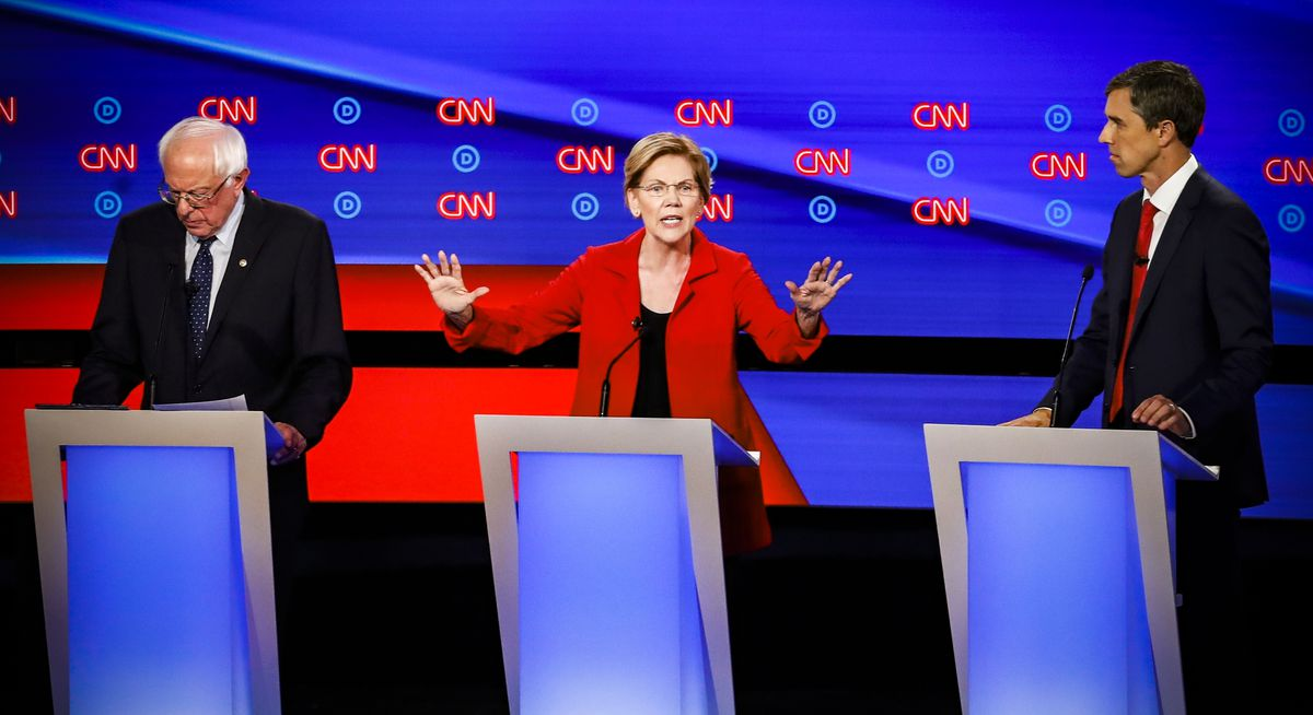 Sen. Elizabeth Warren (D-MA) speaks during the first of two Democratic presidential primary debates on July 30, 2019.